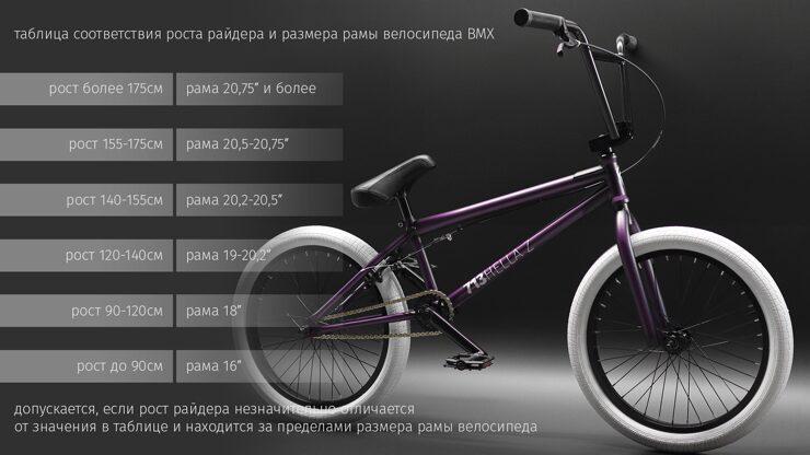 выбрать размер bmx